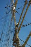 Rigging of a sailing ship `Kruzenshtern` Stock Images