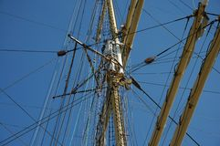 Rigging of a sailing ship `Kruzenshtern`. Metal spars and rigging of a large sailing ship Stock Images