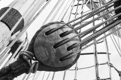 Rigging of a sailing vessel Stock Image