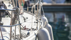 Rigging of sailing yachts, ropes and details. Sport. Stock Images