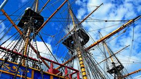 The rigging of a sailship. Gothenburg. Royalty Free Stock Image