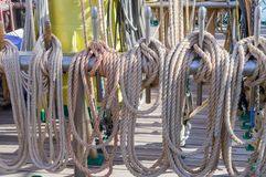 Rigging on a ship royalty free stock photo