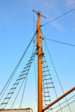 Rigging. The ship's rigging on the background of cloudless sky Royalty Free Stock Photos