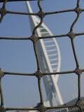 Rigging of ship with The Spinnaka tower backdrop in Portsmouth, Hampshire. Stock Photos