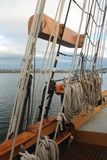 Rigging on a tall sailing ship in the Pacific Northwest Stock Image