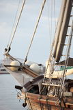 Rigging of a wooden sailboat or yacht Royalty Free Stock Photo