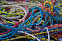 Rigging on a yacht. Colorful ropes. Shallow depth of field Royalty Free Stock Image