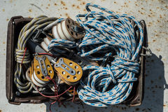 Rigging of yachts in a box Stock Photo