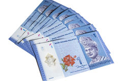 Riggit Malaysia Currency. 1 Malaysian Ringgit Bank Notes forms a fan Royalty Free Stock Images