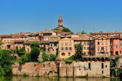 Bank of the medieval town of Albi and Tarn river. Righ bank of the medieval old town of Albi and Tarn river, France Royalty Free Stock Photography