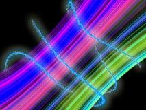 Righe al neon variopinte che scintillano e che emettono luce Fotografie Stock