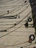 Righe dell'ancoraggio in Jersey, isole della Manica Fotografia Stock