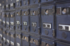 Righe della cassetta postale locked Immagine Stock Libera da Diritti