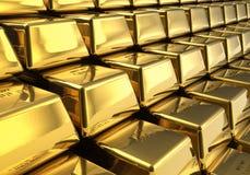 Righe delle barre di oro Immagini Stock