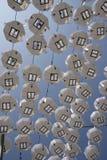 Righe di paralumi di carta Fotografia Stock