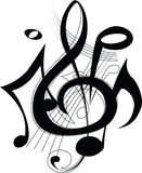 Righe musicali con le note. Illustrazione di vettore Fotografia Stock Libera da Diritti