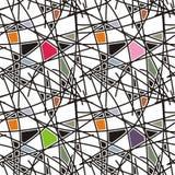 righe nere con il reticolo geometrico Immagini Stock