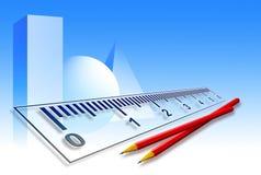 Righello & matite su priorità bassa blu Fotografia Stock