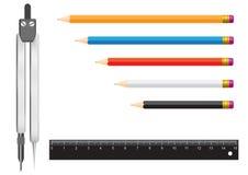 Righello della matita delle bussole Immagine Stock Libera da Diritti