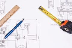Righello di legno e della penna Immagine Stock Libera da Diritti