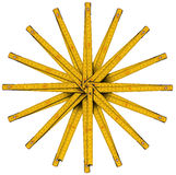 Righello di piegatura di legno a forma di stella Immagini Stock