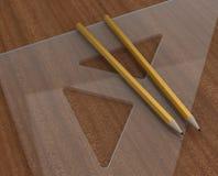 Righello e matita Fotografie Stock Libere da Diritti