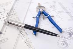 Righello e penna Fotografia Stock Libera da Diritti