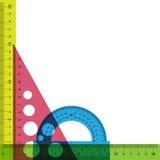 Righello, goniometro e triangolo con il tran simulato Fotografia Stock Libera da Diritti