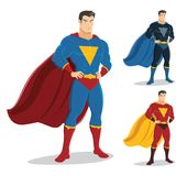 Male superhero standing with pride and confident. On the right are 2 additional versions. Character design. EPS10. No gradients used Royalty Free Stock Images