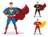 Superhero standing with cape waving in the wind. On the right are 2 additional versions. Character design. EPS10. No gradients used Stock Photo