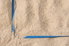Right Angle. Blue straps of a beach volleyball boundary Stock Image