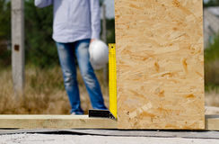 Right angle in use on a building site Royalty Free Stock Image