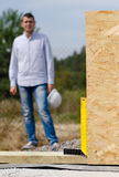 Right angle in use on a building site Royalty Free Stock Photo