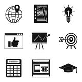 Right approach icons set, simple style. Right approach icons set. Simple set of 9 right approach vector icons for web isolated on white background Stock Images