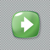 Right arrow icon. Glossy green button. Vector illustration Stock Photography
