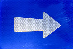 Right arrow on road sign. Close-up Royalty Free Stock Image