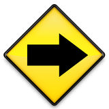 Right Arrow on Yellow Sign Stock Photos