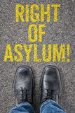 Right of Asylum. Text on the floor - Right of Asylum royalty free stock photography