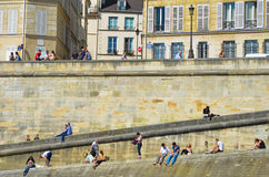 Right Bank of the Seine River Stock Image