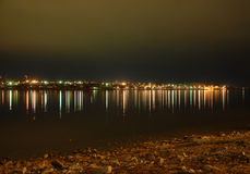 The right bank of the Volga River at night Stock Photography