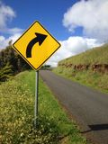 Right Bend Road Sign royalty free stock images