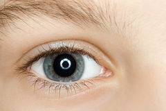 Right blue eye of child with long eyelashes. Close up Royalty Free Stock Photos