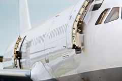 Right board of airplane in airport Royalty Free Stock Photography