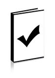 Right on the book. Black right on the plain book Royalty Free Stock Photo