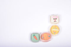 Right bottom frame corner made from small Easter cakes.jpg Royalty Free Stock Photos