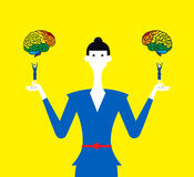 Right brain and left brain. Thinking different between right brain and left brain Royalty Free Stock Image