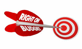 Right on Budget Finances Money Planning Arrow Target Stock Photos