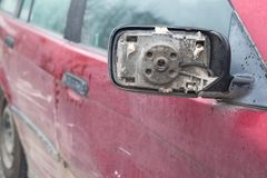 Broken car door mirror, wing stock photography