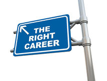 Right career. The right career text on blue traffic sign, white background, text, concept of choice in different careers after school Stock Images