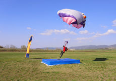 Right in the center. Parachutist landing right in the center of a target Royalty Free Stock Photos